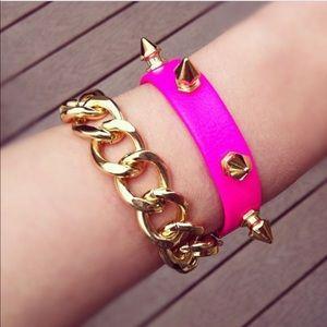 Motita Jewels neon pink & gold spike wrap bracelet